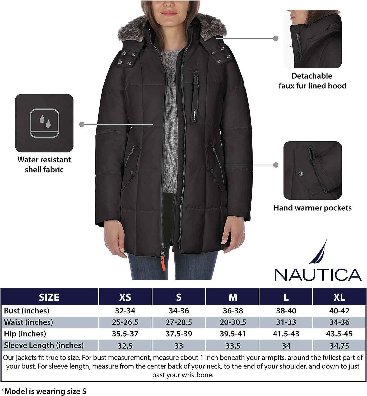Nautica Damen Puffer with Faux Fur Lined Hood Daunenalternative, Mantel pine green