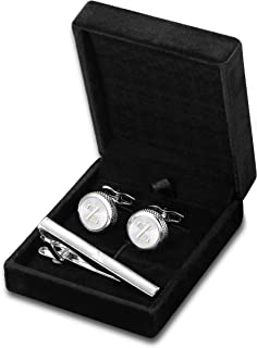 Personalized Initial Cufflinks Tie Clips Set for Men Gifts Custom Letter Wedding Cufflinks Case