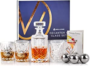 13 Piece Whiskey Decanter and Glass Set | Premium Lead Free Crystal Whiskey Decanter Set with Whiskey Glasses and Stainless Steel Ice Cubes | Classic Liquor Decanter Set for Whisky, Scotch or Bourbon