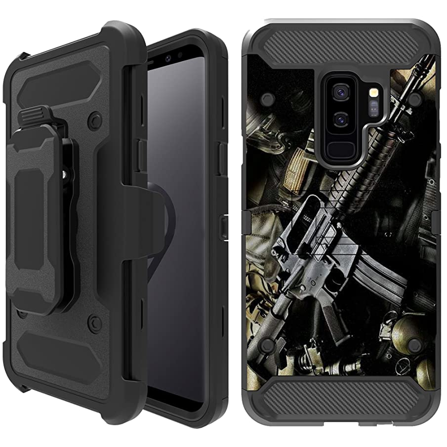 Untouchble Case Compatible with Galaxy S9 Plus +, S9+ Holster Case][TANK SERIES] TPU Bumper Shell Dual Layer Hybrid Case Clip with Kickstand Heavy Duty Case - Tough Assault Rifle