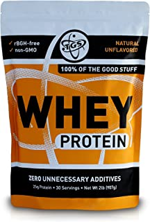 TGS 100% Whey Protein Powder Unflavored, Unsweetened, Keto Friendly - 2lb - All Natural, Low Carb, Low Calo...