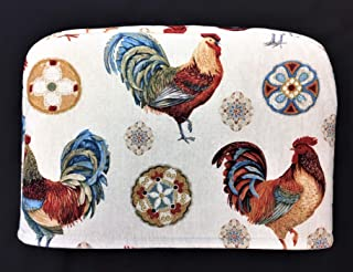 4 Slice Slot Barnyard Farm Country Roosters on Cream Reversible Toaster Kitchen Appliance Dust Cover Cozy 11.5(l) x 7.5(h) x 11.5(w)