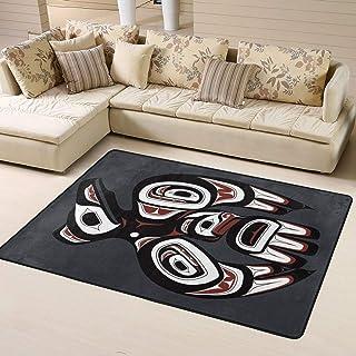 Modern Oversized Raven First Nations Art Area Rug Floor Carpet Bathroom Mat for Kitchen/Living/Bedroom/Gaming Room Home Decor