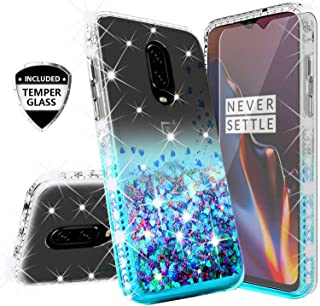 Compatible for OnePlus 6T Case, OnePlus 6T McLaren Case, with [Tempered Glass Screen Protector] SOGA Diamond Liquid Quicksand Cover Cute Girl Women Phone Case for OnePlus 6T - Clear on Teal