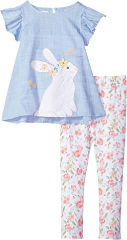 Mud Pie - Floral Easter Bunny Tunic and Leggings Two-Piece Set (Infant/Toddler)