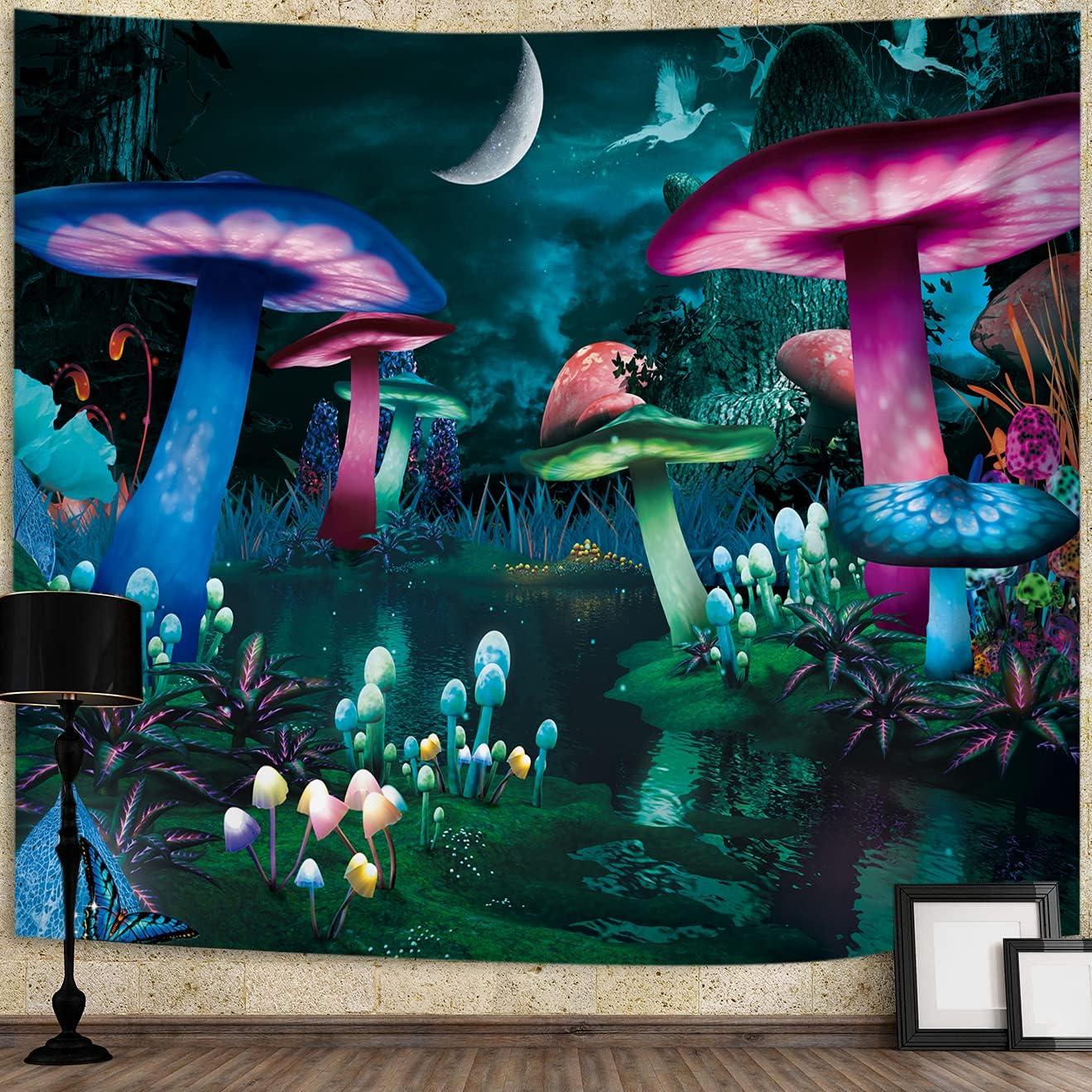 Artwove Mushroom Tapestry Psychedelic Aesthetic: Mystic Fantasy Plants Black Sky Wall Art Hanging Decor Trippy for Men Women Dorm Home Living Room Bedroom(Medium: 78.7