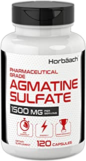 Agmatine Sulfate Capsules 1500mg | 120 Pills | Pharmaceutical Grade | Non-GMO, Gluten Free Supplement | by Horbaach