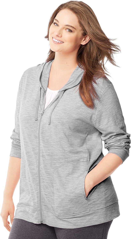 Just My Size by Hanes Women's Plus-Size Slub Jersey Full-Zip Hoodie-1X-Black Heather
