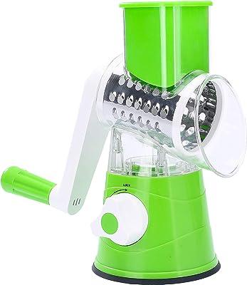 Rallador de queso redondo redondo de mandolina cortador de verduras triturador de nueces cortador con 3 tambores de acero inoxidable de forma intercambiable (verde)