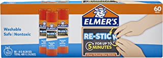 Elmer's Re-Stick School Glue Sticks, 0.28-Ounces, 60 Count