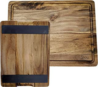 Large Acacia Wood Cutting Board Non Slip with Juicegroove, Wooden Chopping Board for Kitchen Countertop, 16x12 inches, by Shay