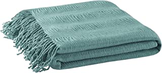 INK+IVY Reeve Luxury Ruched Throw Aqua 50x60 Premium Soft Cozy Soft Acrylic For Bed, Couch or Sofa
