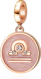Rose Gold Zodiac Sign Charms 925 Sterling Silver Constellation Dangle Charm for European Bracelet