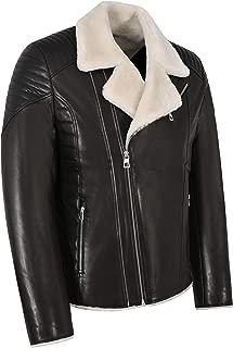 Men's Real Shearling Lined Biker Leather Jacket Slim Fit Black Veg Tanned 2041
