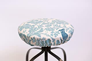 Round barstool cover Barber Village Blue Fitted Stool Cover, Floral print light blue on cream Fabric, elasticized round barstool cover 12
