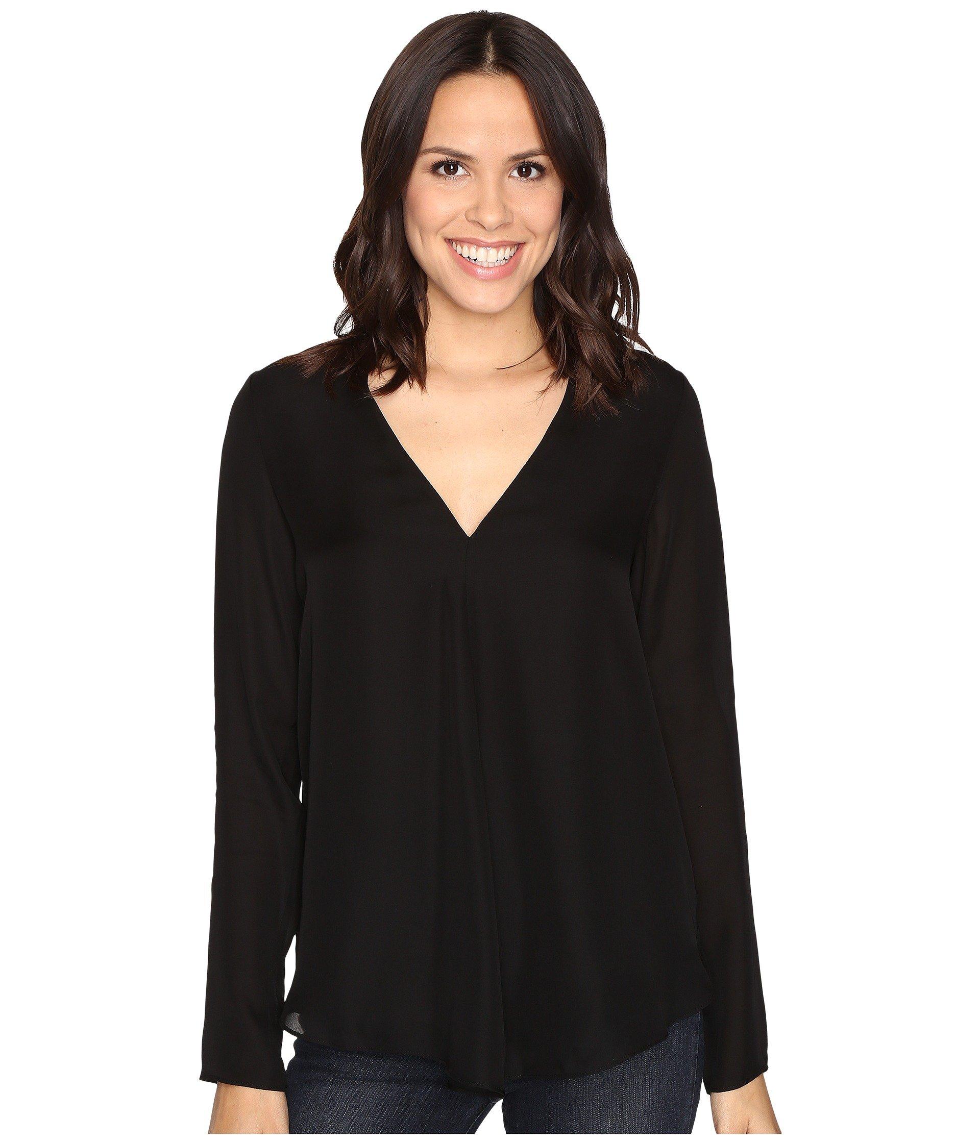 HEATHER Silk Double Layer Long Sleeve Top, Black
