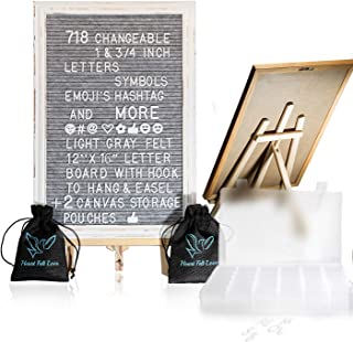 Felt Letter Board with Easel Stand 12 x 16 | 718 Changeable Characters Including 1 inch and ¾ Letters, Symbols, Emojis Hashtag and More | Hook to Hang | 2X Canvas Storage Pouches (12 x 16) (Grey)