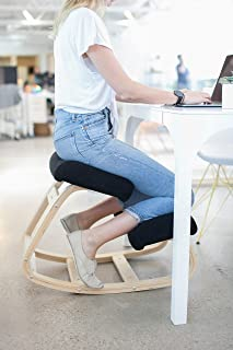 Sleekform Kneeling Chair | Rocking Ergonomic Wood Knee Stool for Office & Home | Posture Correcting for Bad Backs, Neck Pain, Spine Tension Relief | Orthopedic Balance Seat & Thick Knees Cushions