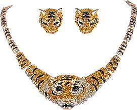 EVER FAITH Austrian Crystal Enamel Big Tiger Head Necklace Stud Earrings Set