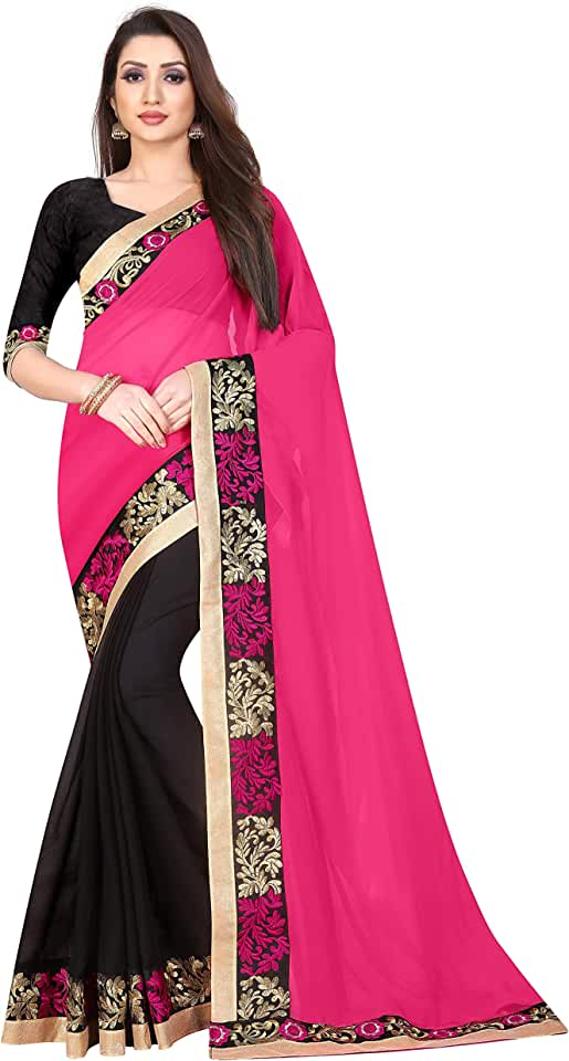 Indian Hydrise Women's Pure Georgette Saree with Running Blouse (Red) Saree