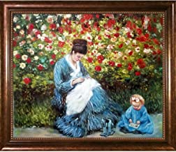 La Pastiche Camille Child in The Artist's Garden in Argenteuil by Monet Framed Hand Painted Oil with Verona Café, 28