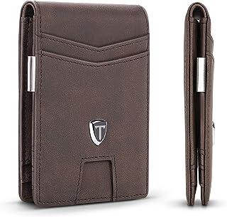TEEHON® Portefeuille Homme Cuir avec Pince à Billets & 9 Porte-Cartes de Crédit & Protection RFID & Poche Monnaie Zippée, ...
