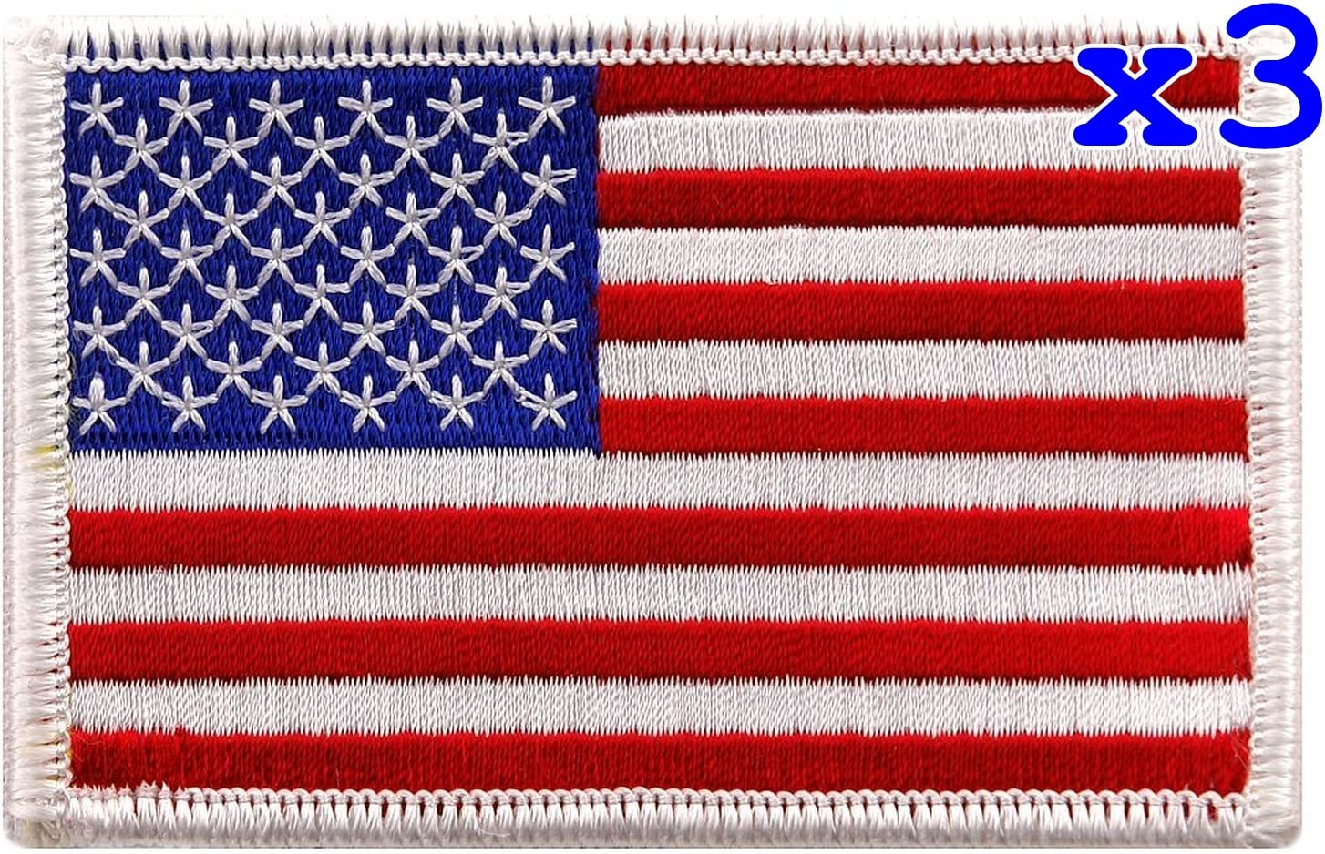 Pack of 3 Ranking TOP16 USA US American Flag Sew Iro Spring new work Patch on Embroidered Logo