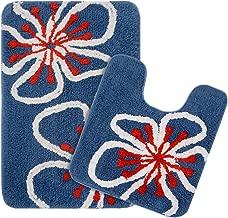Saral Home Soft Cotton Bathmat Set with Contour (Blue, 40x60cm) - Pack of 2