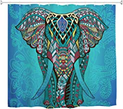 Goodbath Elephant Shower Curtain, Indian Bohemian Boho Waterproof Polyester Fabric Bathroom Bath Curtains, 72 x 72 Inch, Blue