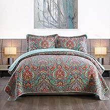 NEWLAKE Cotton Bedspread Quilt Sets-Reversible Patchwork Coverlet Set, European Gorgeous Floral Pattern, King Size