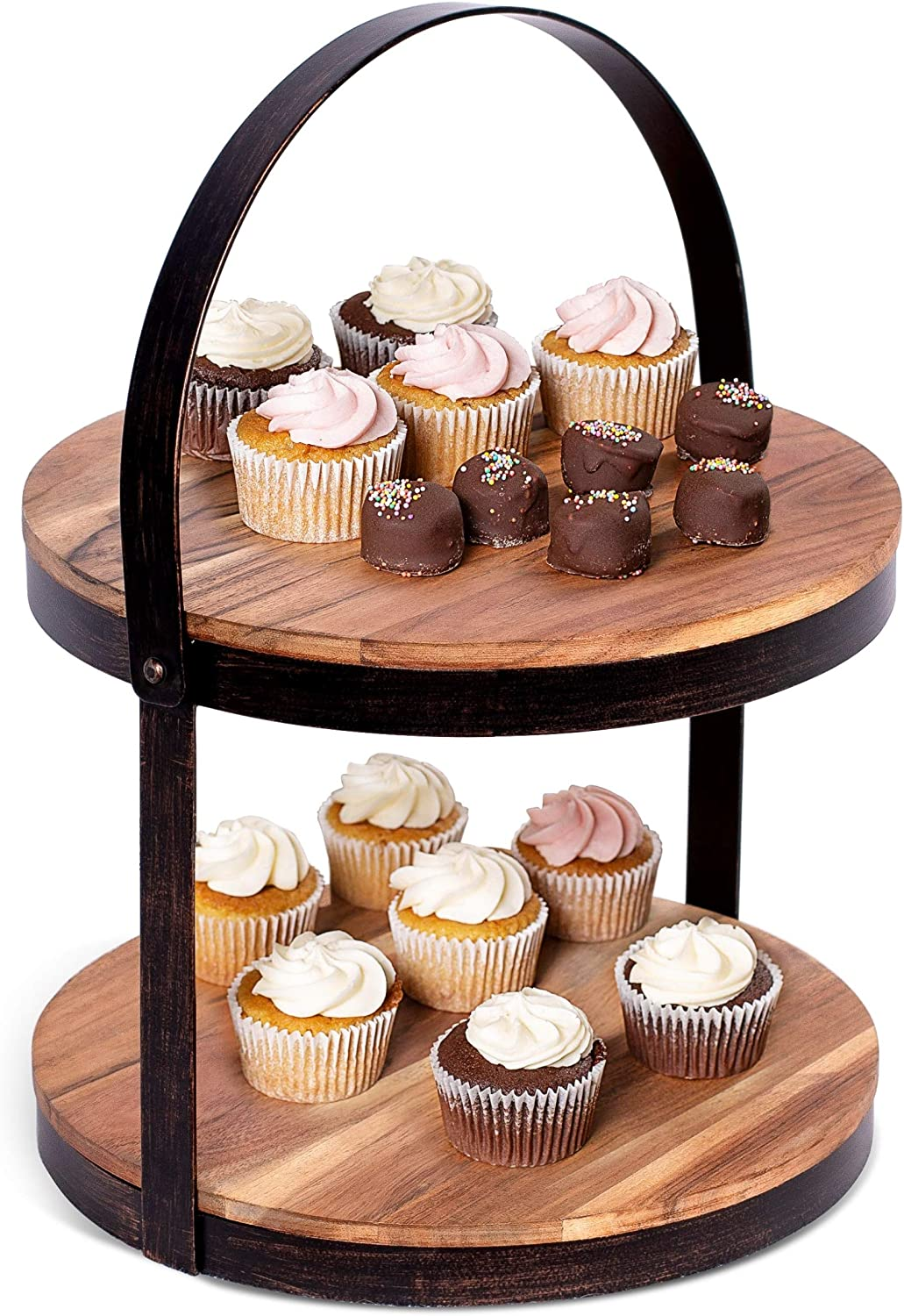 BIRDROCK HOME 2-Tier Cupcake and Cake Wood 5 ☆ popular Handle with - Ranking TOP9 Stand I