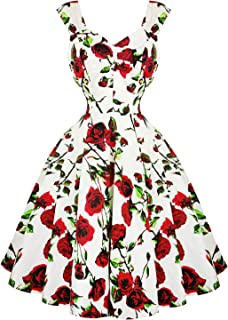 ffb715536dba Hearts & Roses London Cream and Red Floral Vintage Retro 1950s Flared Tea  Dress