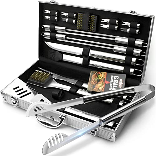 GRILLART BBQ Grill Utensil Tools Set Reinforced BBQ Tongs 19-Piece Stainless-Steel Barbecue Grilling Accessories with...