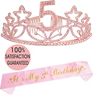 5th Birthday Tiara and Sash Pink, Happy 5th Birthday Party Supplies, Pink Glitter Satin Sash and Crystal Tiara Birthday Crown for 5th Birthday Party Supplies and Decorations