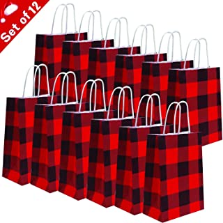 Soplus 12 Pieces Red and White Buffalo Plaid Paper Party Bags Christmas Tote Gift Bag Birthday Kraft Party Bags Buffalo Plaid Black and White Gift Bags