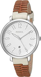 Fossil Women's 'Jacqueline' Quartz Stainless Steel and Leather Casual Watch, Color:Brown (Model: ES4209)