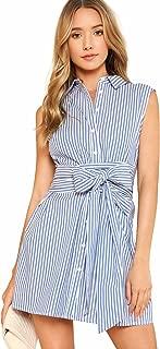 Women's Cute Striped Belted Button up Collar Summer Short Shirt Dress
