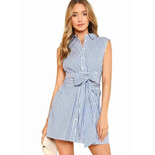 0b074254a Romwe Women's Cute Striped Belted Button up Collar Summer Short Shirt Dress