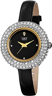 Burgi Women's BUR195 Swarovski Crystal & Diamond Accented Watch - Comfortable Leather Strap - Comes in A Gift Box