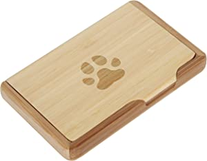 Paw Print Bamboo Business Card Holder With Laser Engraved Design - Business Card Keeper - Holds Up To 10 Cards - Lightweight Calling Card Case