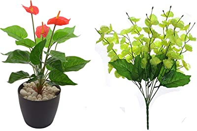 Fourwalls Polyurethane Artificial Anthurium Plant with PVC Coated Leaves (46 cm, Red) + Amazing Artificial Blossom Flower Bunch (7 Branches, Green)