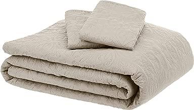 AmazonBasics Oversized Quilt Coverlet Bed Set – King, Beige Floral