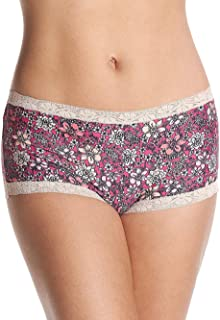 Women's Microfiber with Lace Boyshort Panty