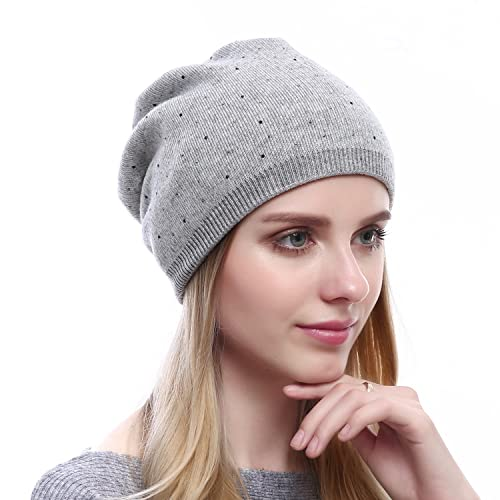 QUEENFUR Winter Cap for Women - Warm Wool Hat Cashmere Caps Knit Solid  Beanies Hats 5d5b97467d85