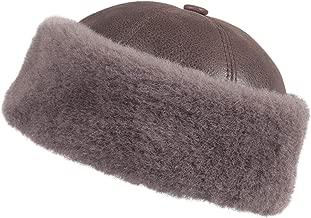 Zavelio Unisex Shearling Sheepskin Winter Fur Beanie Hat