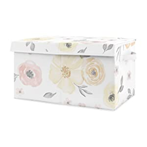 Sweet Jojo Designs Yellow and Pink Watercolor Floral Girl Small Fabric Toy Bin Storage Box Chest for Baby Nursery or Kids Room - Blush Peach Orange Cream Grey White Shabby Chic Rose Flower Farmhouse