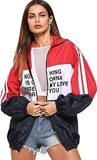 Women's Color Block Zip Up Sports Casual Jacket Windproof Windbreaker