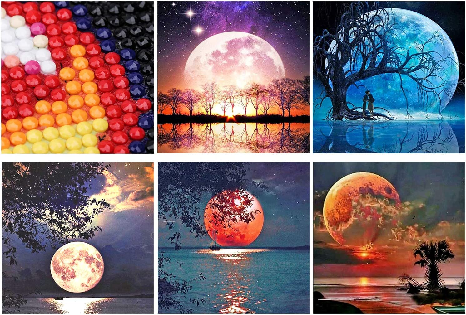 5 Pack 5D DIY Diamond Painting Kits for Adults Moon Diamond Paintings Picture for Home Decoration