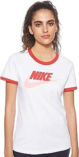 Nike Women's Futura Ringe T-Shirt, White (White/University Red/Pink Gaze), Large
