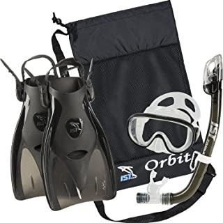 Orbit Snorkeling Gear Set: Tempered Glass Mask, Dry Top Snorkel & Trek Fins for Compact Travel